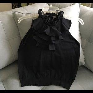 Tops - Black ruffle top Size M